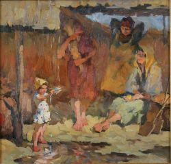 Радость с дождем во время сбора пшеницы