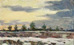 Конец дня. Первый снег. На Симферопольской горе. этюд