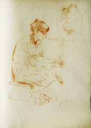 Набросок женской фигуры позирующей перед художниками