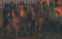 Группа мужчин у забора, шахтеры