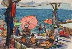 3 картины Люди на пляже