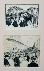 2 рисунка (Похороны Ленина)