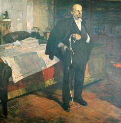 Ленин читает телеграмму