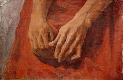Эскизный этюд рук моего друга на красном полотне
