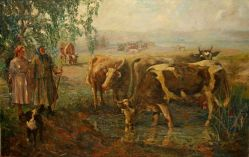 Женщины пасут коров
